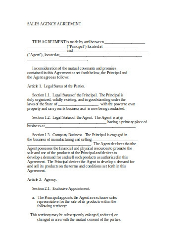 sales agency agreement in doc
