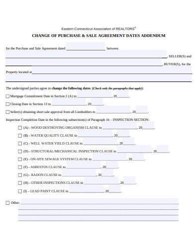 sales agreement dates addendum