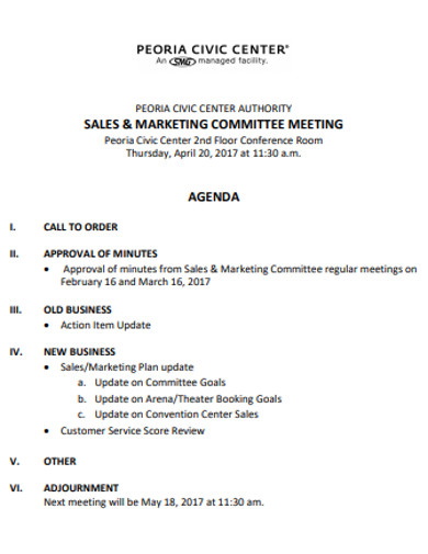 sales committee meeting agenda