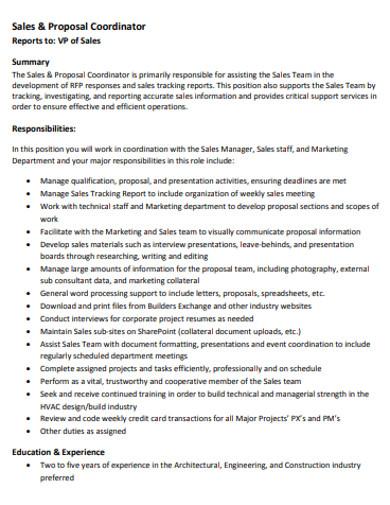 sales coordinator proposal