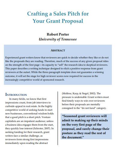 sales grant proposal