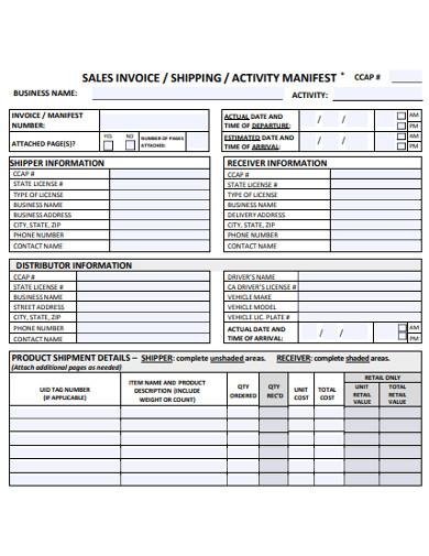 sales invoice example