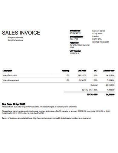 sales invoice in pdf