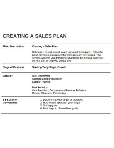 sales plan tempplate