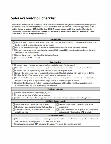sales presentation checklist