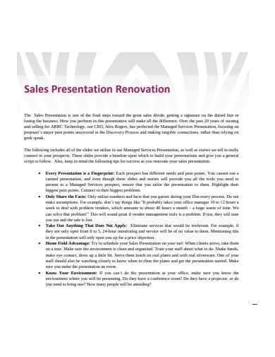 sales presentation renovation