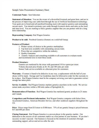 sales presentation summary sheet