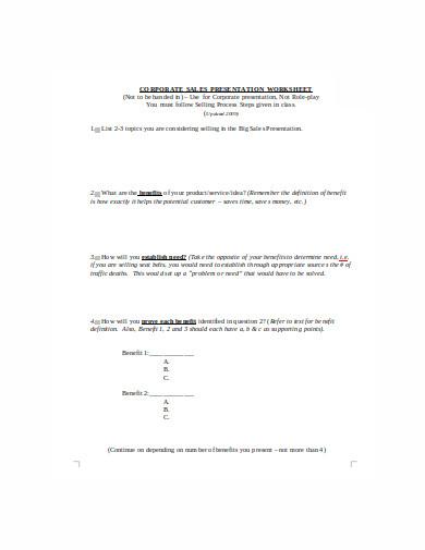 sales presentation worksheet