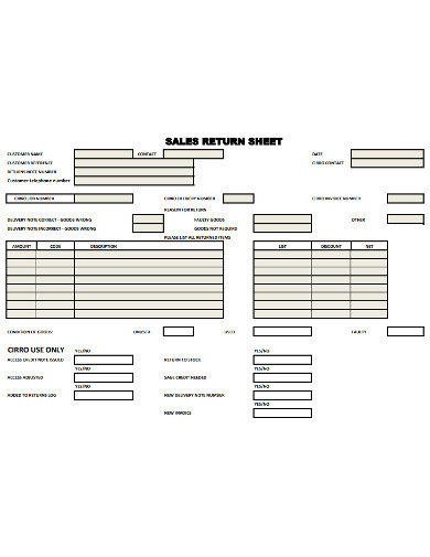 sales return sheet