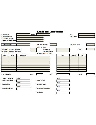 sales return sheet