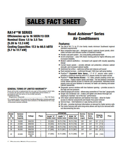 sales sheet example