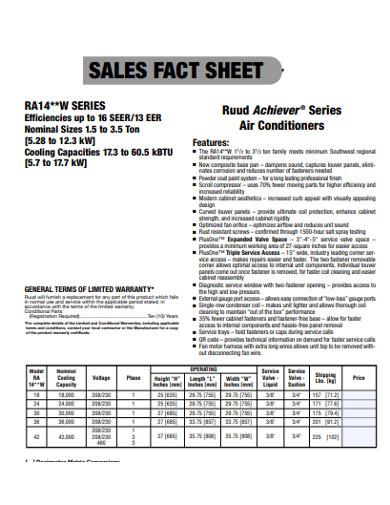 sales sheet example