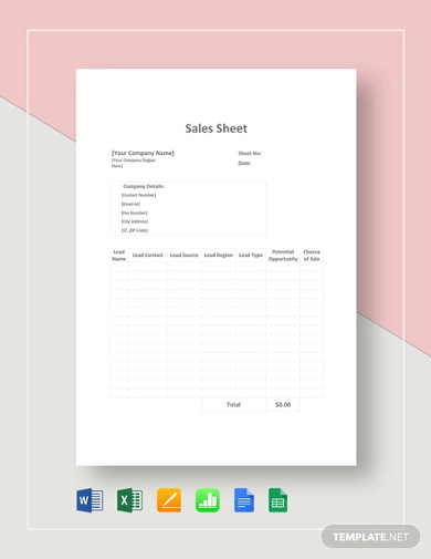 sales sheet template