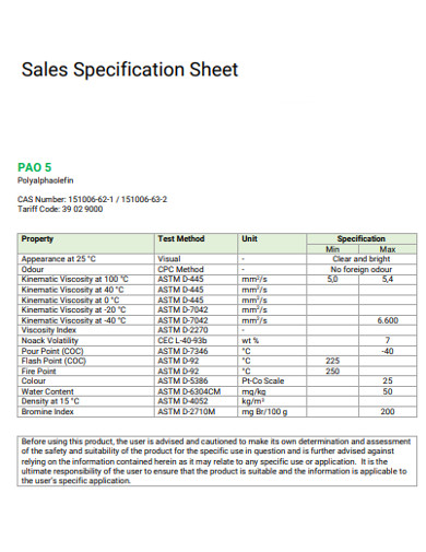 sales specification sheet