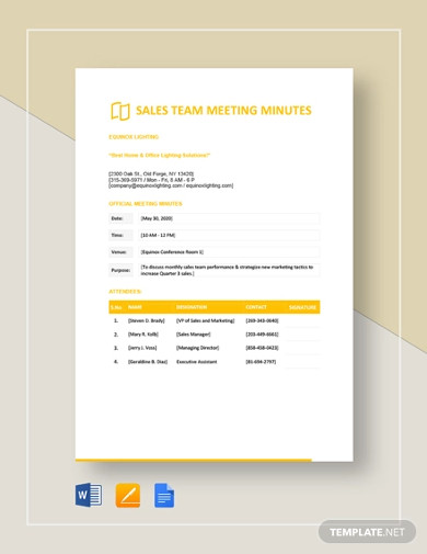 sales team meeting minutes template