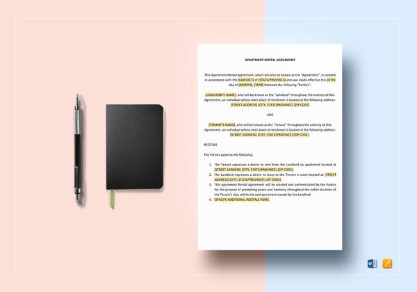 sample apartment rental lease agreement