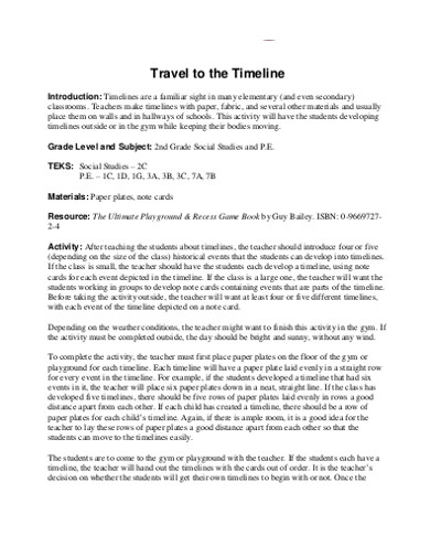 sample basic travel timeline