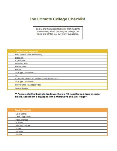 sample college checklist