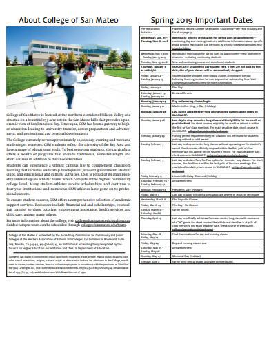 sample college schedule template