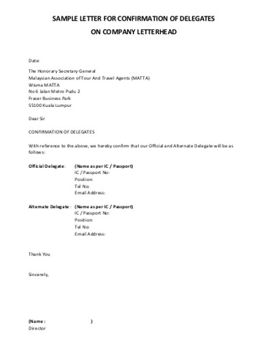 sample company confirmation letter