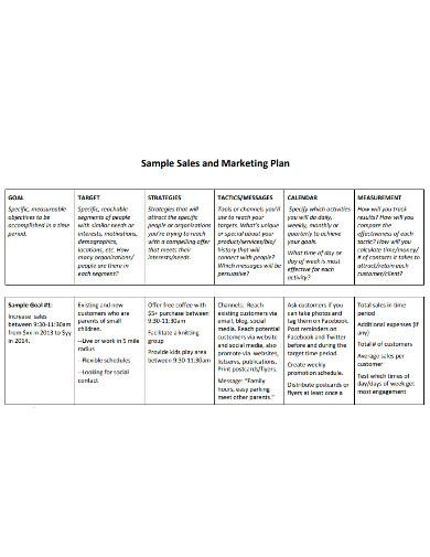 sample marketing sales plan