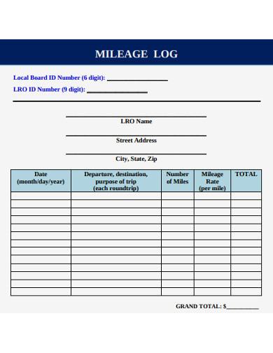 sample milage log