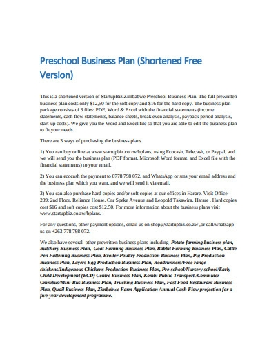 sample preschool business plan