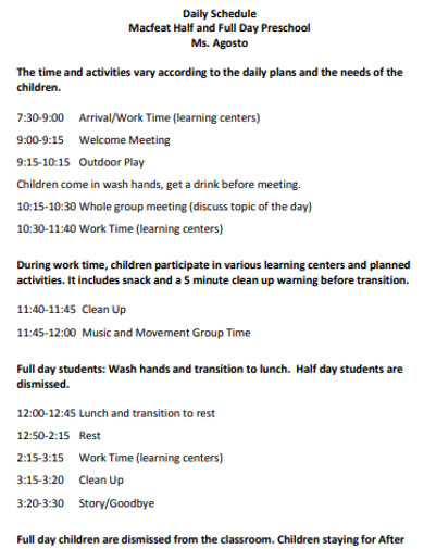 sample preschool daily schedule