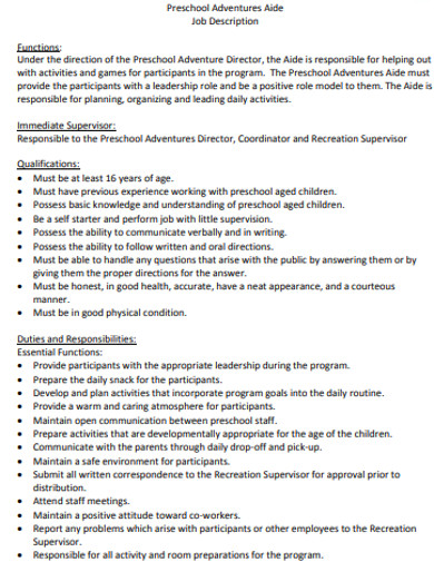 sample preschool job description example