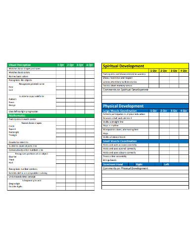 sample preschool progress report