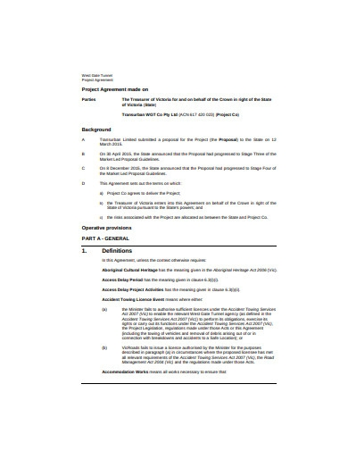 sample project agreement formate