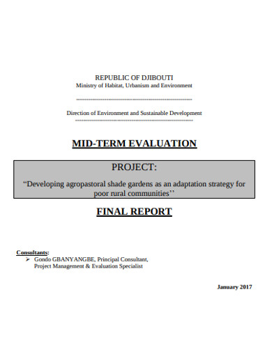 sample project evaluation report example