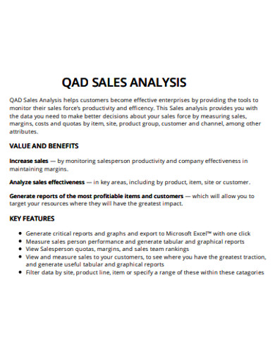 sample sales analysis example