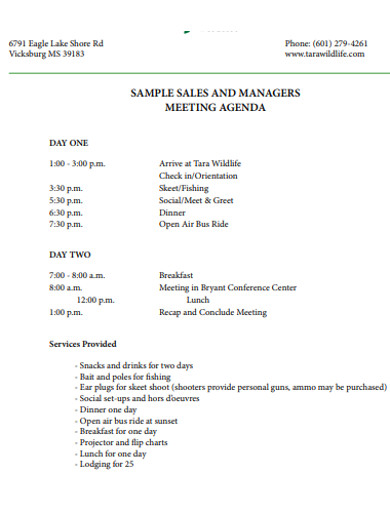 sample sales meeting agenda