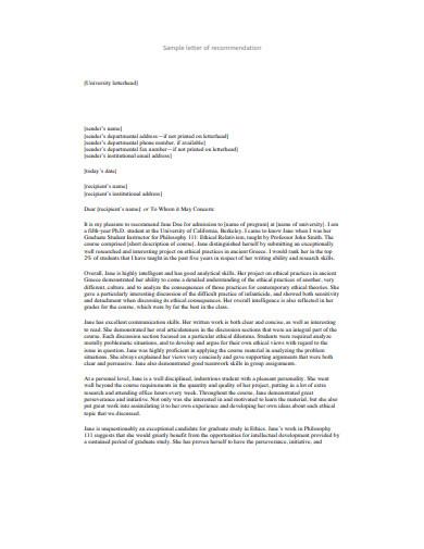 sample letter for recommendation
