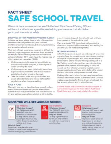 school travel fact sheet