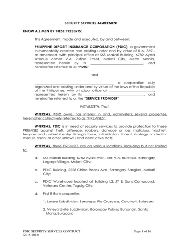 security guard services agreement contract