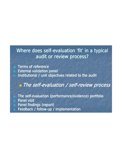 self evaluation process