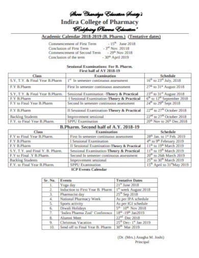 sessional collage examination calender