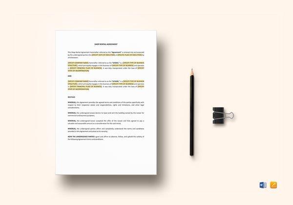 shop rental lease agreement
