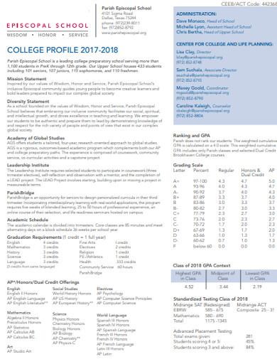 simple college profile