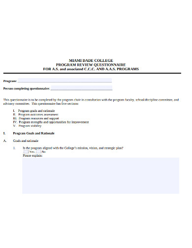 simple college questionnaire