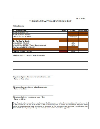 simple evaluation sheet