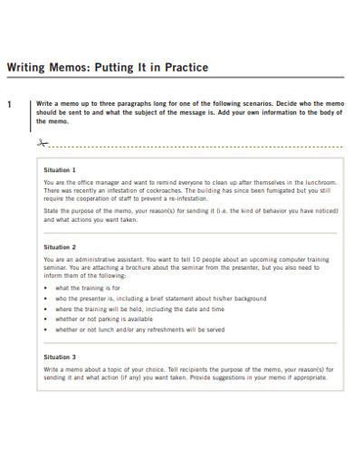 simple memo writing