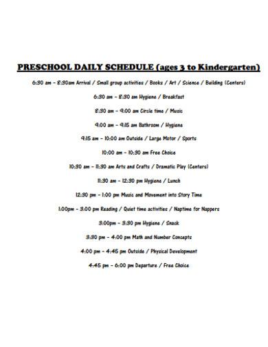 simple preschool daily schedule