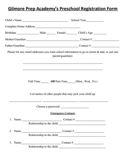 simple preschool registration form