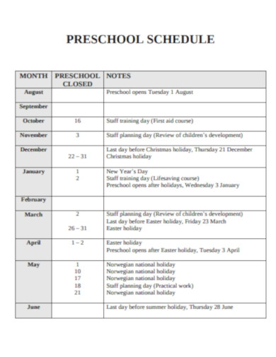 simple preschool schedule