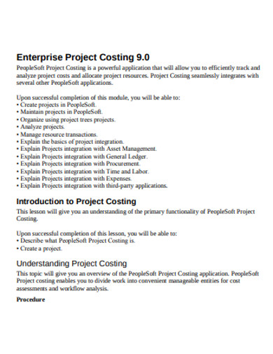 simple project costing