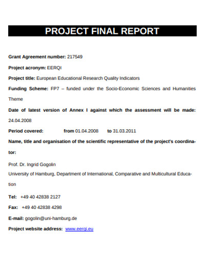 simple project final report example