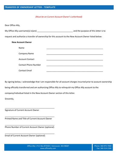 simple transfer of ownership letter
